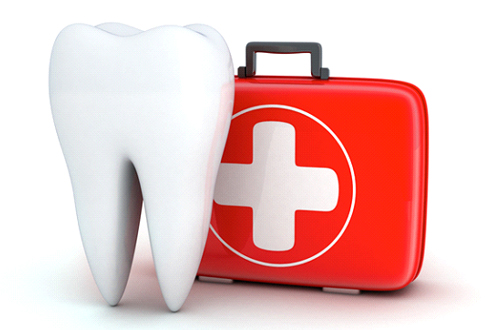 First-aid kit used by an emergency dentist in The Woodlands