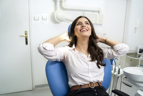 Woman relaxing at dental office preparing for nitrous oxide in The Woodlands, TX