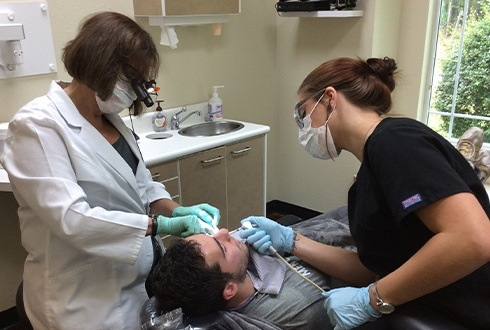 Man receiving root canal therapy